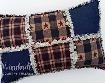 "Americana Rag Pillow, Denim, Patriotic Homespun, Stars and Stripes Home Decor, 10""x16"", Windmill Country Threads"