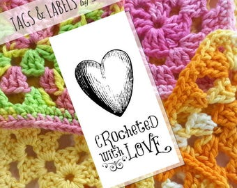 Printable PDF Tags or Labels - Crocheted with Love for handmade crochet products - Works great for craft show price tags and branding