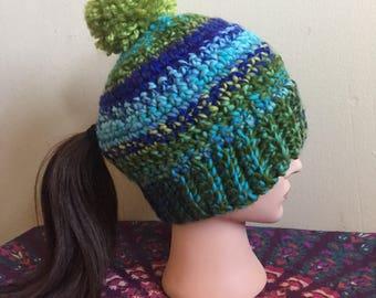 Ponytail pom pom hat- Blues and Greens