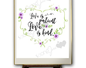 Love is Patient Water Color Quote PDF