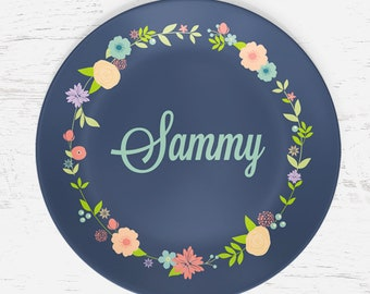 Personalized Flower Plate for Kids - Spring Floral Wreath - Plate Bowl Placemat Mug - Tableware Set - Personalized Melamine Plate (Plastic)