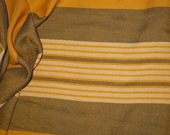 handwoven gold and gray crepe yardage