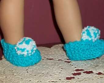 18 inch Doll Slippers in Teal