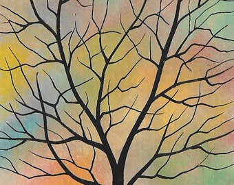 Original ACEO Painting. Tree in Colorful Sky. Artist Trading Card, ATC. Michael Francis Brown