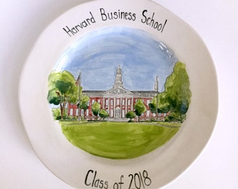 Personalized graduation gift college university grad gift high school favorite teacher portrait painting on ceramic plate by Cathie Carlson