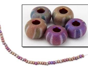 6/0 Matte Stripe Opaque Mauve AB Seed Bead (40 Gram) #CSB186