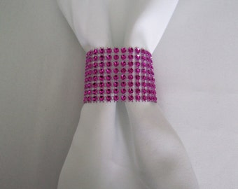 SOLD in PACKS of 20 Hot Pink Napkin Rings - Fuchsia Rhinestone Napkin Rings / Table Setting Decor