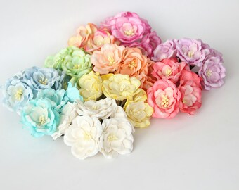 Paper flowers etsy 50 pcs mixed colors magnolia big poppy paper flowers wholesale pack mightylinksfo