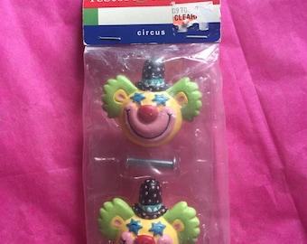 Vintage Happy Clown Drawer Knobs / Pulls ~ 90's ~ Clown Decor