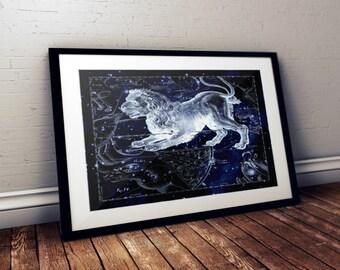 Leo Constellation Print, Astronomy Art Print, Astrology Art Print, Zodiac Print, Leo Art Print