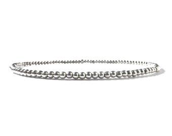 sterling silver beaded bracelet for women / sterling silver stackable stretch bracelets / women delicate timeless bracelet