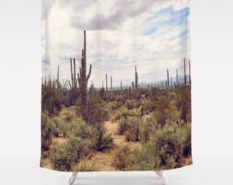 southwestern shower curtain, cactus shower curtain, western bath, western decor, southwestern bath, saguaro, green, arizona, desert decor