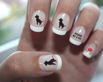 Kissed By A Pit Nail Art - Pit Bull Nail Decal, Pitbull Nail Decal, Pit Bull Nail Art, Pitbull Nail Decal, Pit Bull Nail Designs, Pitbull