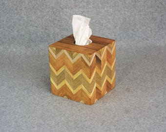 Tissue Box Cover - Handcrafted from Cherry, Maple, Oak and Ash - Chevron or Herringbone Design