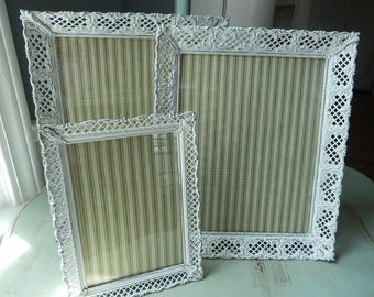 Set of Three Shabby Frames - Painted White Frames - Photo Gallery Frames - Metal Ornate Frames - Cottage Chic Frames - Small Table Frames