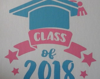 """Vinyl decals, """"Class of 2018""""  permanent or temporary Decal for wall, car, glass"""