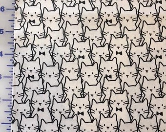 Cat Fabric -Cat Cluster in White 1/2 yard+