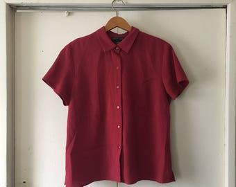 Red plaid button down short sleeve shirt