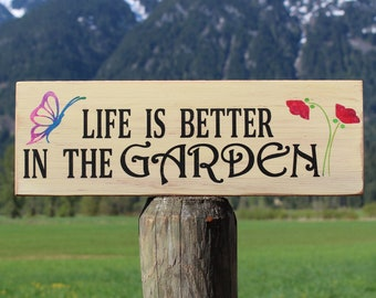 Garden Sign -  Rustic Garden Decor - Gardening Gift - Outdoor Garden Decor - Gift for Gardner - Yard Art - Mother's Day Gift