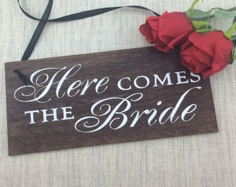 Here Comes The Bride Sign-Wedding Sign-12'' x 5.5'' Sign-Wood Wedding Sign-Here Comes The Bride Wedding Sign