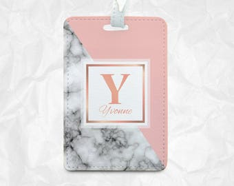 Name on Marble and Plain colour pattern with personal Name Tag, Luggage Tag, Bag Tag