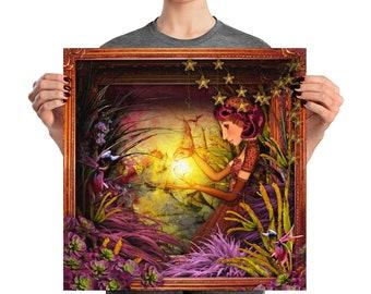 Poster, Portrait #72, Glow, wall art, digital collage, digital print, art print, wonderland, art, 18x18, 14x14, 10x10,