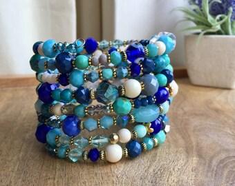 Memory Wire Bracelet Boho Bracelet Blue Bracelet Beaded Bracelet Layering Bracelet Statement bracelet Wrap bracelet Gemstone Jewelry