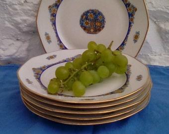 Vintage Limoges porcelain breakfast or tea plates by Jean Boyer, 1920s.