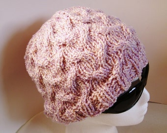 Phable Soft and Cozy Hand Knit Cabled Hat in Lovely Lilac and Pink mix Yarn - Buy as a Gift or For Yourself
