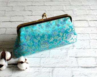 Kiss Lock Purse, Clutch, Metal Frame Purse, Vintage Style Clutch, Turquoise Brocade Bag, Clasp Purse, Simple Purse, Handbag, iPhone Wallet