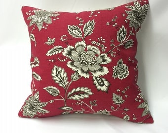 Red, Cream, & Black Floral Decorative Pillow Cover
