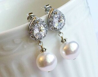 Pearl and Crystal Teardrop Earrings - Bridal Earrings