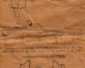 40% OFF 1900's Child's Combination Undergarment Pattern Pictorial Review Pattern 1725 1900's One-Piece Undergarment Vintage Pattern  3 Yrs C