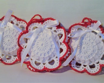 """3 Christmas ornaments """"Snowflake"""" red and white"""