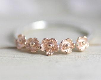 Sakura ring, rose gold flower ring, rose gold jewelry, flower jewelry, pink jewelry, silver ring, two tone ring, bridesmaid gift, women