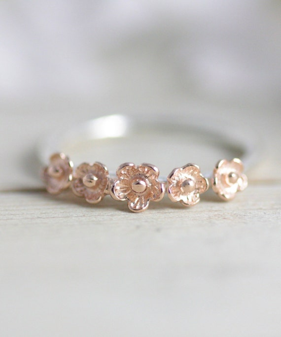 Sakura ring rose gold flower ring rose gold jewelry flower