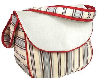 Monogrammed Messenger Diaper Bag - Stellar Stripes