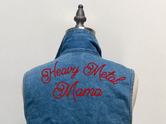 """Heavy Metal Mama"" Hand Embroidered Denim Vest"