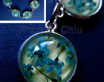 Blue Real Flower Bracelet Pressed Flowers Bracelet Resin Vintage Queen Anne's Lace Jewelry