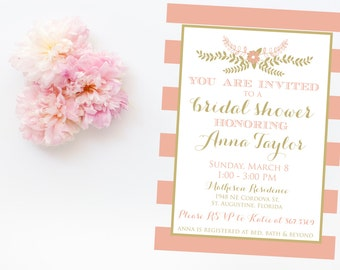 Pink and Gold Wedding Shower Invitation - Modern Wedding Shower Invitation - Printable Invitation