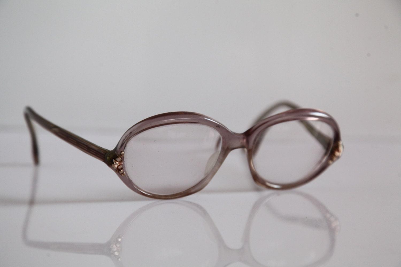 Jahrgang MARWITZ Brillen Kristall lila Rand Gold klare