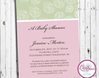 Elegant rose bud baby shower invitation - DIY - PRINT YOURSELF or purchase prints