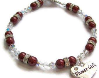 Flower Girl Bracelet,  Swarovski Pearl and Crystal Bracelet, Wedding Jewelry. Bridesmaid Bracelet, Choice of Pearl Color. Maid of Honor Gift