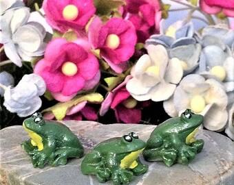 3 Micro Frog Figurines, Fairy Garden Miniature Accessories