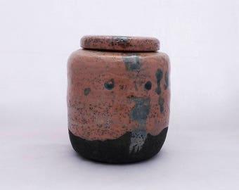 Raku Jar. Pink with metalic green hints. Handmade contemporany ceramics.