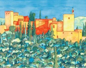 Alhambra Print: The Alhambra from the Mirador de San Nicolás, Granada, Spain