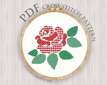 Gingham and Dots rose PDF cross stitch pattern / instant download