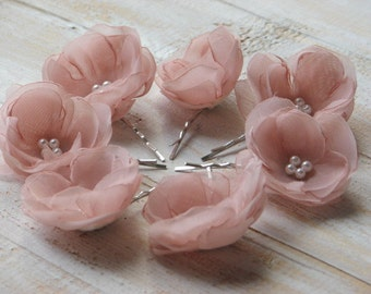 Set of 7 blush hair flowers Blush hair pins Blush hair clips Wedding blush flowers Pink hair flower Pink hair clip 1.5 inch hair flower