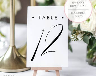 Printable Table Numbers. Tables Numbers. Wedding Table Numbers.  Calligraphy Table Numbers. Table Number Cards. Table Numbers 1-40. (SH)