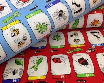 Ladybug Garden Critters, Bugs in Jars, Sold by the Yard - 100% Cotton insect Fabric, by the yard Blank Textiles